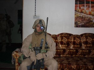 Lieutenant Thomas Daly minutes before the clearing of a VBIED factory in Qatana, downtown Ramadi.  Photo courtesy of the author.