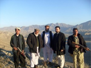 Chief Zazai, second from right, with bodyguards on the way to meet British commanders in Kabul earlier this year