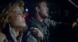"Linda Hamilton and Michael Biehn on the run in ""The Terminator"""
